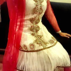 Red white net Anarkali Salwar Kameez